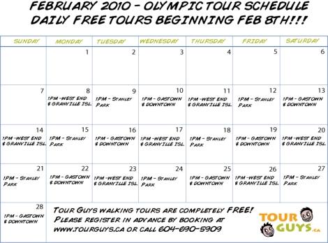 Olympic Tour Calendar